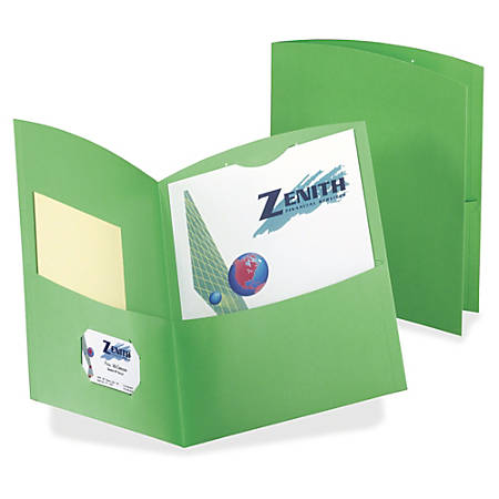 """TOPS Oxford Contour Twin Pocket Folders - Letter - 8 1/2"""" x 11"""" Sheet Size - 100 Sheet Capacity - 2 Pocket(s) - 11 pt. Folder Thickness - Embossed Paper, Stock - Green - Recycled - 25 / Box"""