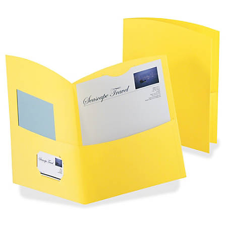 TOPS Oxford® Contour Twin-Pocket Folders, Letter Size, Yellow, Box Of 25 Folders