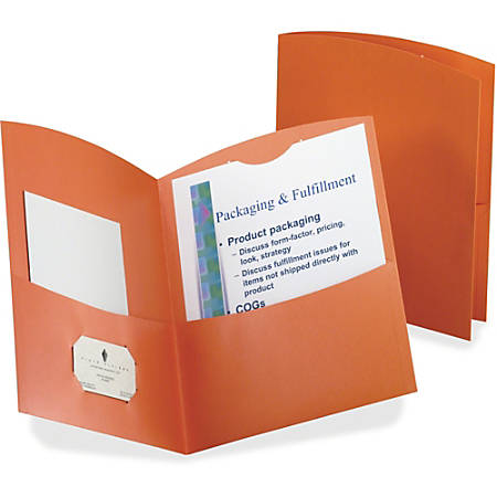 Oxford® Contour 2-Pocket Folders, Letter Size, Orange, Box Of 25 Folders