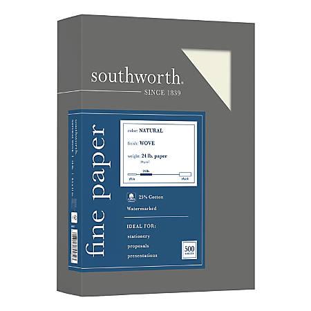 "Southworth® 25% Cotton Business Paper, 8 1/2"" x 11"", 24 Lb, Natural, Box Of 500"