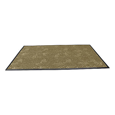 "Waterhog Plus Swirl Floor Mat, 48"" x 72"", 100% Recycled, Khaki"
