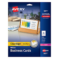 Avery laser clean edge two side printable business cards 2 x 3 12 avery laser clean edge two side printable business cards 2 x 3 12 white pack of 200 by office depot officemax colourmoves