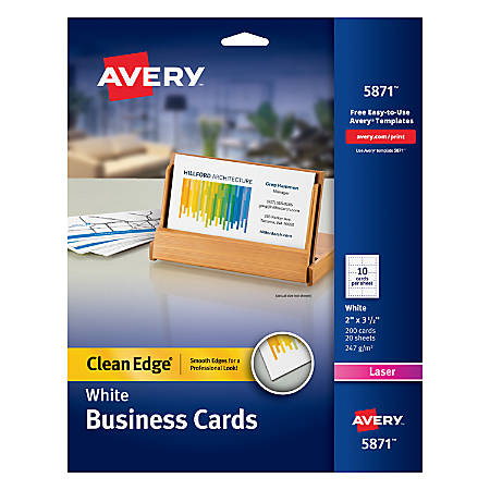 Avery laser clean edge two side printable business cards 2 x 3 12 avery laser clean edge two side flashek Images