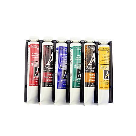 Grumbacher Academy Oil Set, Basic, Assorted Colors, Set Of 6