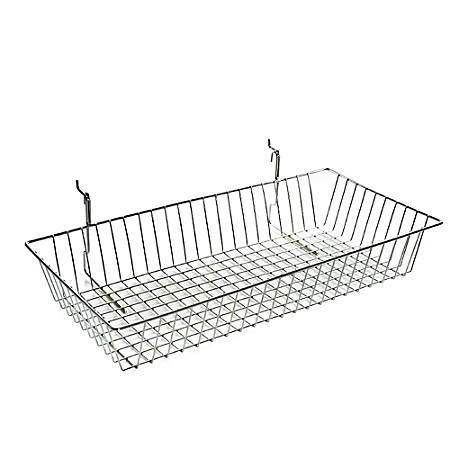 """Azar Displays Chrome Wire Baskets, 5""""H x 24""""W x 12""""D, Silver, Pack Of 2"""