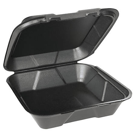 """Genpak® Snap-It® Vented Hinged Food Containers, 3""""H x 9 1/4""""W x 9 1/4""""D, Black, 100 Containers Per Bag, Carton of 2 Bags"""