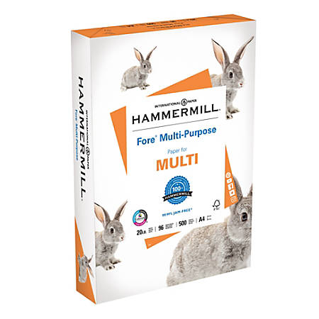 "Hammermill® Fore Multipurpose Paper, A4, 8 1/4"" x 11 3/4"", 20 Lb, White, Ream Of 500 Sheets"