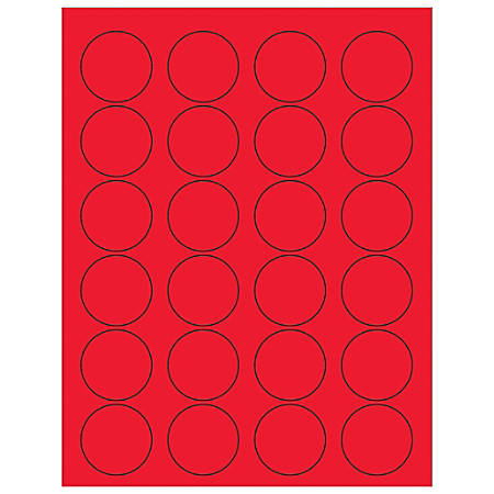 """Office Depot® Brand Labels, LL193RD, Circle, 1 5/8"""", Fluorescent Red, Case Of 2,400"""