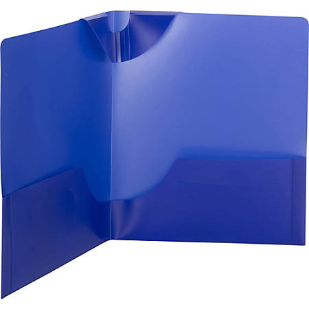 "Smead Poly Lockit® Two-Pocket Folders - Letter - 8 1/2"" x 11"" Sheet Size - 100 Sheet Capacity - 2 Inside Left, Inside Right Pocket(s) - Polypropylene - Dark Blue - 25 / Box"
