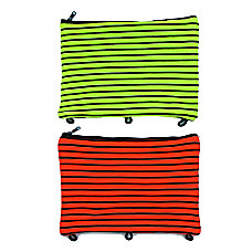Inkology Spandex Neon Striped Pencil Pouches