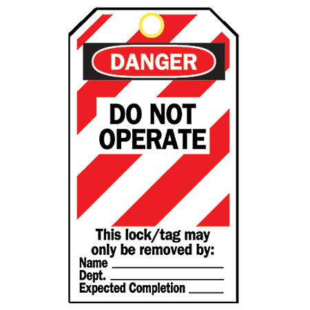"Brady® Lockout Tags, Danger Do Not Operate, 7 1/2""H x 4 13/16""W, Red/White/Black, Pack Of 25"