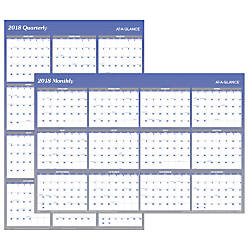 AT A GLANCE ErasableReversible Wall Planner