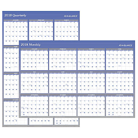 "AT-A-GLANCE® Erasable/Reversible Wall Planner, 48"" x 32"", Blue/Gray Ink, January-December 2018 (A1152-18)"