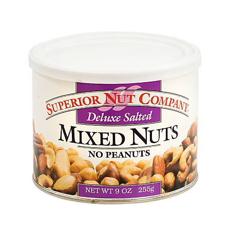 Superior Nut Nuts, Deluxe Salted Mixed Nuts With No Peanuts, 9 Oz, Box Of 12