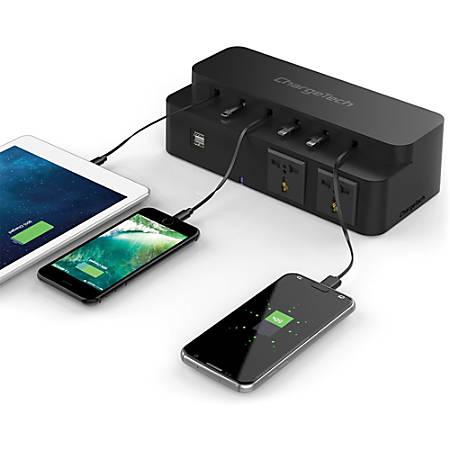 ChargeTech Power Strip Charging Station - 2 x AC Power, 2 x USB - Black
