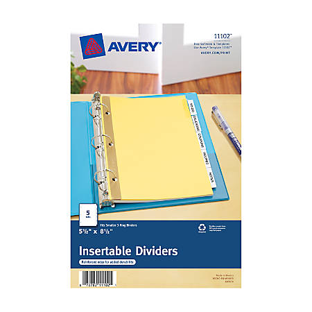 """Avery® 30% Recycled WorkSaver® Dividers With Standard Insertable Tabs, 5 1/2"""" x 8 1/2"""", 5-Tab, Buff Dividers/Clear Tabs"""