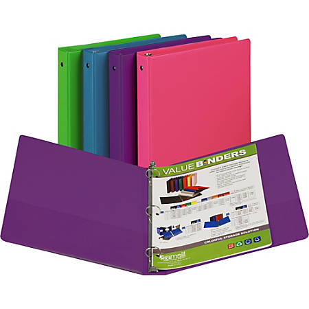 "Samsill Round Ring Value Storage Binder - 1"" Binder Capacity - Letter - 8 1/2"" x 11"" Sheet Size - 3 x Ring Fastener(s) - 1 Inside Front & Back Pocket(s) - Assorted - Recycled - 1 Each"