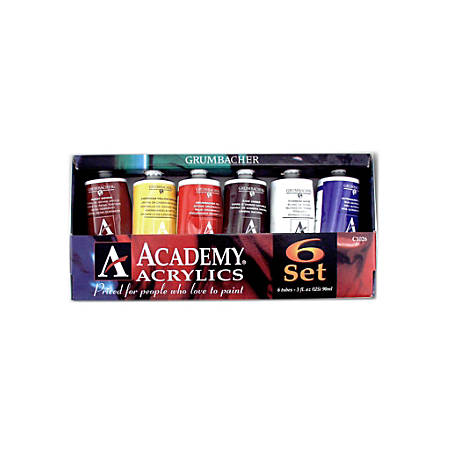 Grumbacher Academy Acrylic Introductory Set, 3 Oz Tubes, Assorted Colors, Set Of 6