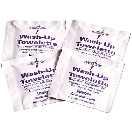 """Medline Wash-Up Cleansing Towelettes, 7 1/2"""" x 4 1/2"""", White, 100 Towelettes Per Box, Case Of 10 Boxes"""