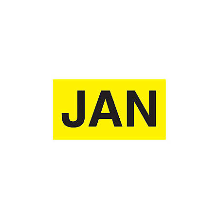 "Tape Logic® Permanent Inventory Label Roll, DL6702, Month-Style, ""JAN,"" 6"" x 3"", Yellow, Roll Of 500"