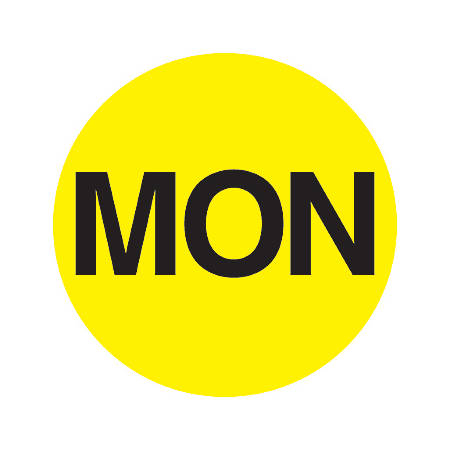 "Tape Logic® Permanent Inventory Label Roll, DL6501, Weekday-Style, ""MON,"" 1"" Diameter, Yellow, Roll Of 500"