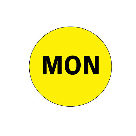 """Tape Logic® Permanent Inventory Label Roll, DL6502, Weekday-Style, """"MON,"""" 2"""" Diameter, Yellow, Roll Of 500"""