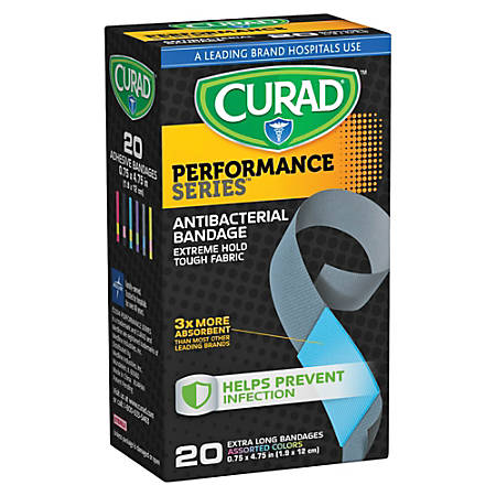 """CURAD® Performance Antibacterial Adhesive Bandages, 3/4"""" x 4 3/4"""", Assorted Colors, Pack Of 20"""