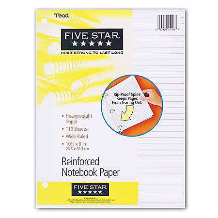 "Five Star® Reinforced Filler Paper, 8"" x 10 1/2"", Wide Ruled, Pack Of 110 Sheets"
