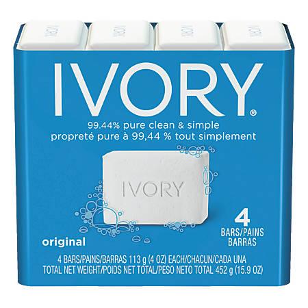 Ivory® Bar Soap, Original Scent, 4 Oz, White, 4 Bars Per Pack, Case Of 18 Packs