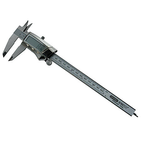 """General Tools Digital/Fraction Electronics Calipers, 0 - 8"""", 12 1/4""""H x 4 1/4""""W x 1 1/4""""D, Stainless Steel"""