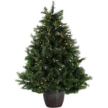 Fraser Hill Farm 5' Potted Artificial Northern Cedar Teardrop Christmas Tree With Clear LED Lights