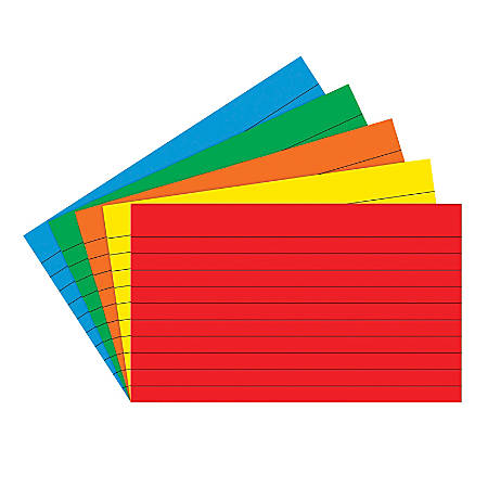 "Top Notch Teacher Products® Bright Primary Lined Index Cards, 3"" x 5"", Assorted Colors, 75 Cards Per Pack, Case Of 10 Packs"