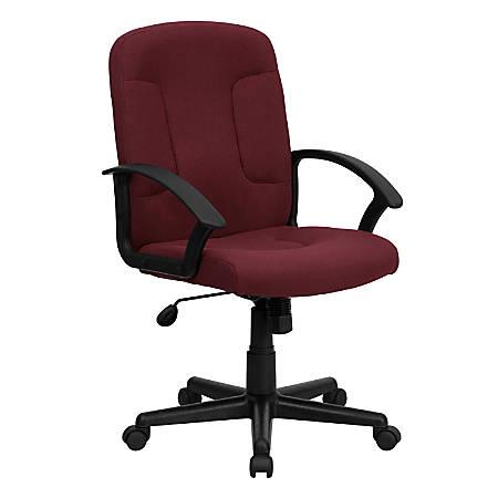 Flash Furniture Fabric Mid-Back Swivel Chair, Burgundy/Black