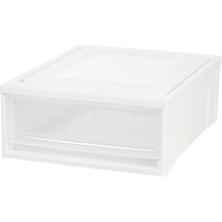"""IRIS Stackable Storage Box Drawer - External Dimensions: 19.6"""" Length x 15.8"""" Width x 7"""" Height - 5.50 gal - Stackable - Plastic - Clear, White - For Accessories, Craft Supplies, Toiletries - 4 / Carton"""