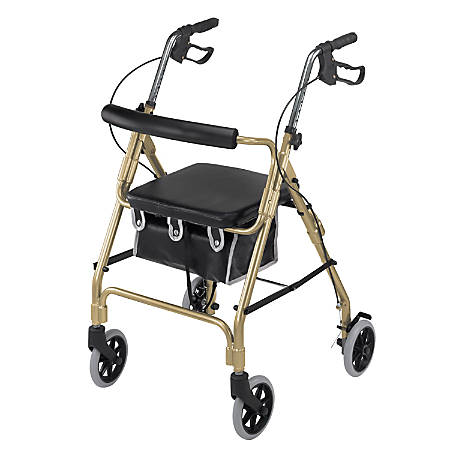 "DMI® Ultra-Lightweight Aluminum Rollator With Curved Backrest, 32 1/4""H x 24 1/2""W x 29 1/2""D, Gold"