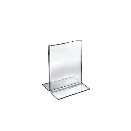 """Azar Displays Double-Foot Acrylic Sign Holders, 6"""" x 5"""", Clear, Pack Of 10"""