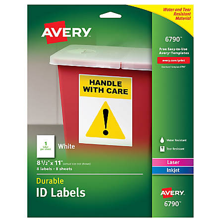"""Avery® Durable Permanent ID Labels, AVE6790, 8 1/2"""" x 11"""", White, Pack Of 8"""