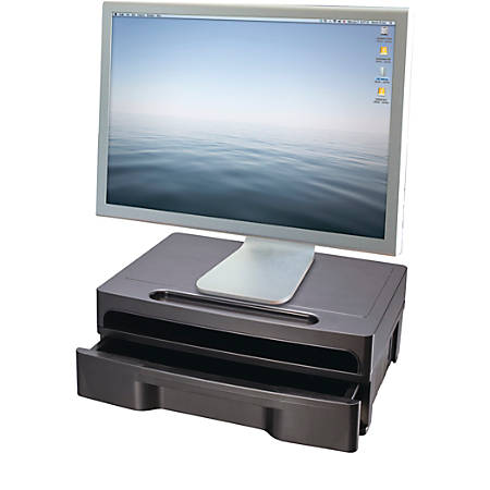 OIC® Monitor Stand With Drawer, Black