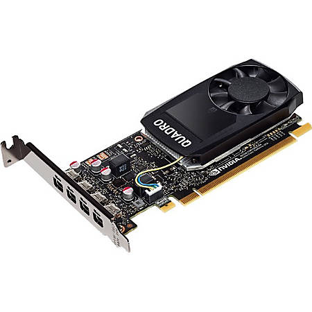 PNY Quadro P1000 Graphic Card - 4 GB GDDR5 - Low-profile - Single Slot Space Required - 128 bit Bus Width - Fan Cooler - OpenGL 4.5, DirectX 12, OpenCL, Vulkan 1.0, DirectCompute - 4 x Mini DisplayPort - Linux, PC - 4 x Monitors Supported