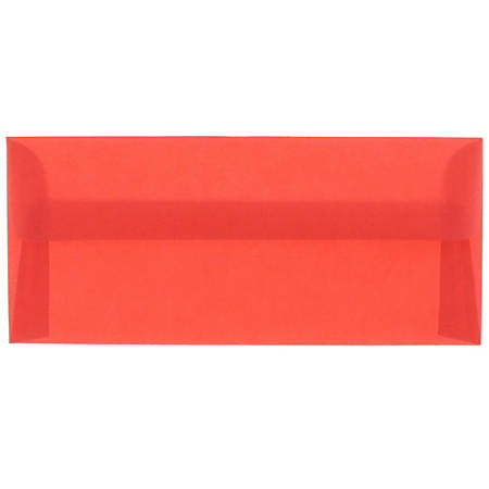 "JAM Paper® Translucent Business Booklet Envelopes With Moisture Seal Closure, #10, 4 1/8"" x 9 1/2"", Primary Red, Pack Of 25"