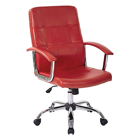 Office Star™ Avenue Six® Malta Vinyl Mid-Back Chair, Red/Silver