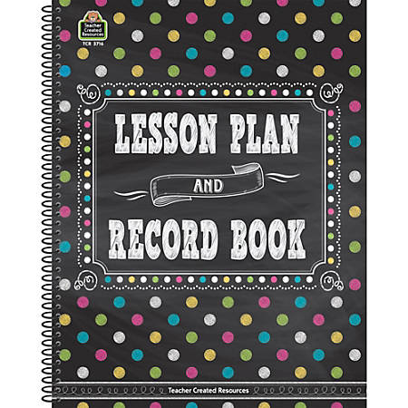 Teacher Created Resources Lesson Plan And Record Books, Chalkboard Brights, Pack Of 2