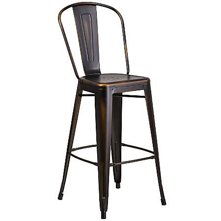 "Flash Furniture Commercial-Grade 30""H Distressed Metal Bar Stool, Copper"
