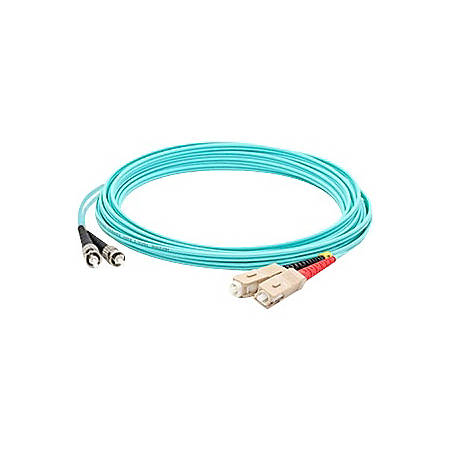 AddOn 6m SC (Male) to ST (Male) Aqua OM3 Duplex Fiber OFNR (Riser-Rated) Patch Cable