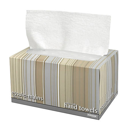 Kleenex® Ultra Soft Hand Towels, Pop-Up Box, 1-Ply, White, 70 Hand Towels Per Box, Case Of 18