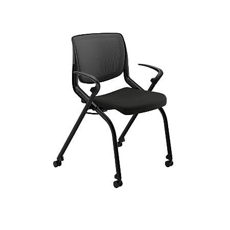 HON® Motivate Nesting/Stacking Flex-Back Chair, Black