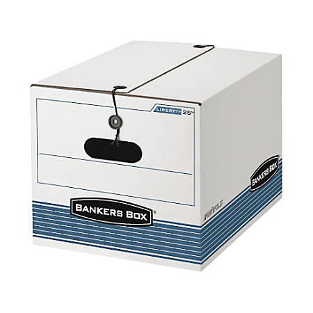 """Bankers Box® Stor/File™ Boxes With String & Button, Letter/Legal, 11""""H x 12 1/4""""W x 16""""D, White/Blue, Pack Of 12"""