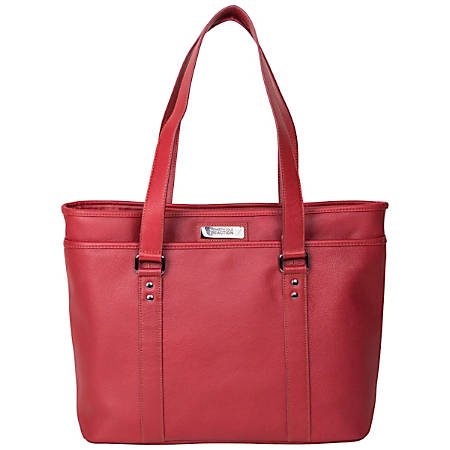 """Kenneth Cole Reaction Leather Work Tote With 16"""" Laptop Pocket, Red"""