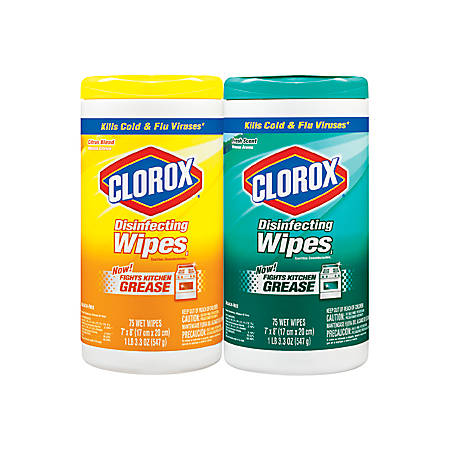 "Clorox Disinfecting Wipes, Lemon And Fresh Scent, 7"" x 8"", 75 Wipes Per Canister, Carton of 12"