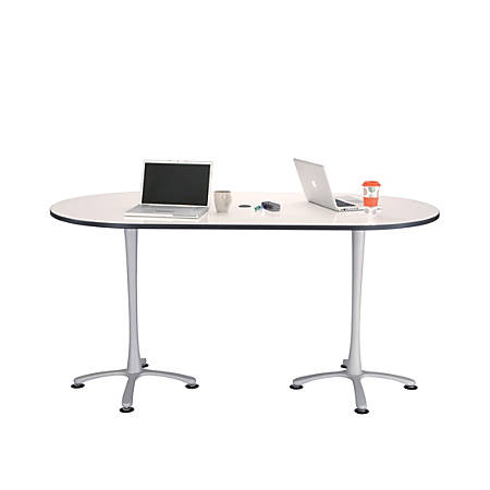 """Safco® Cha-Cha™ 42""""W Teaming Table With Dry-Erase Top, White/Silver"""